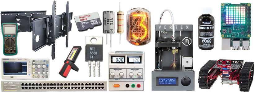 Vetco offers 3D printers, nixie tubes, volt meters, oscilliscopes, semiconductors, capacitors, resistors, laboratory power supplies, etc.