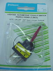 SPST Lighted Toggle Switch Paddle Handle Red 20A
