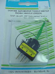 SPST Lighted Toggle Switch Paddle Handle Green 20A