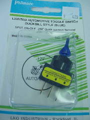 SPST Lighted Toggle Switch Duckbill Handle Blue 20A