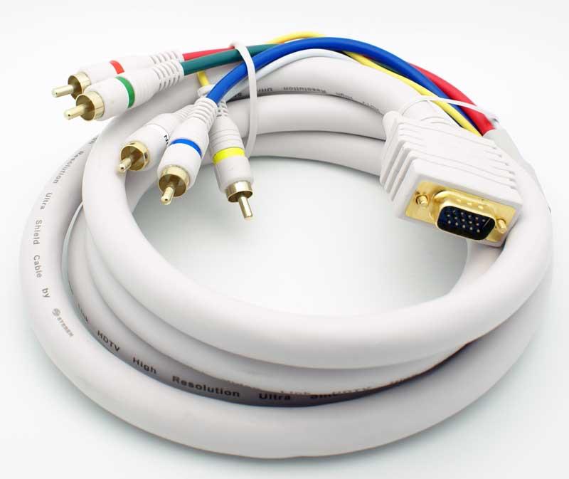 12\' VGA Male - 5 RCA Male Cable - Vetco Electronics