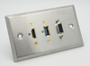 HDMI + VGA Female + USB 3.0 Stainless Steel Wall Plate