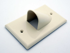 Single Gang Bulk Cable Wall Plate White Reversible