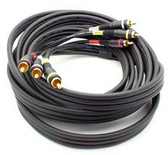 12' 3 RCA Composite Video + Stereo Audio Cable - Black