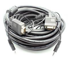 50' VGA Male - Male w/3.5mm Stereo Audio Cable