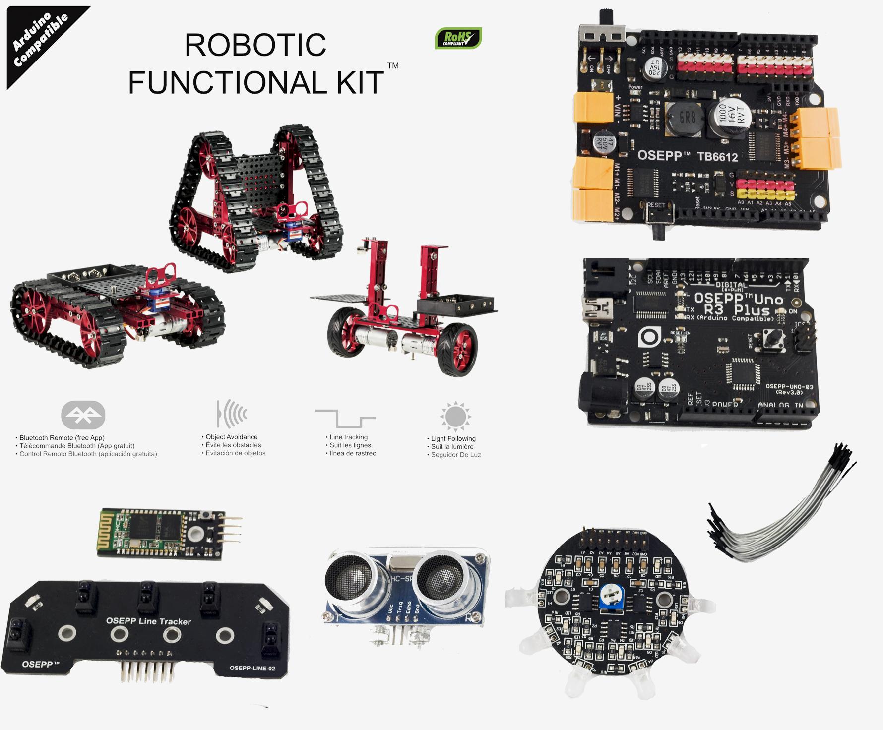 Bluetooth Robotics Functional Kit (Arduino Uno Included)