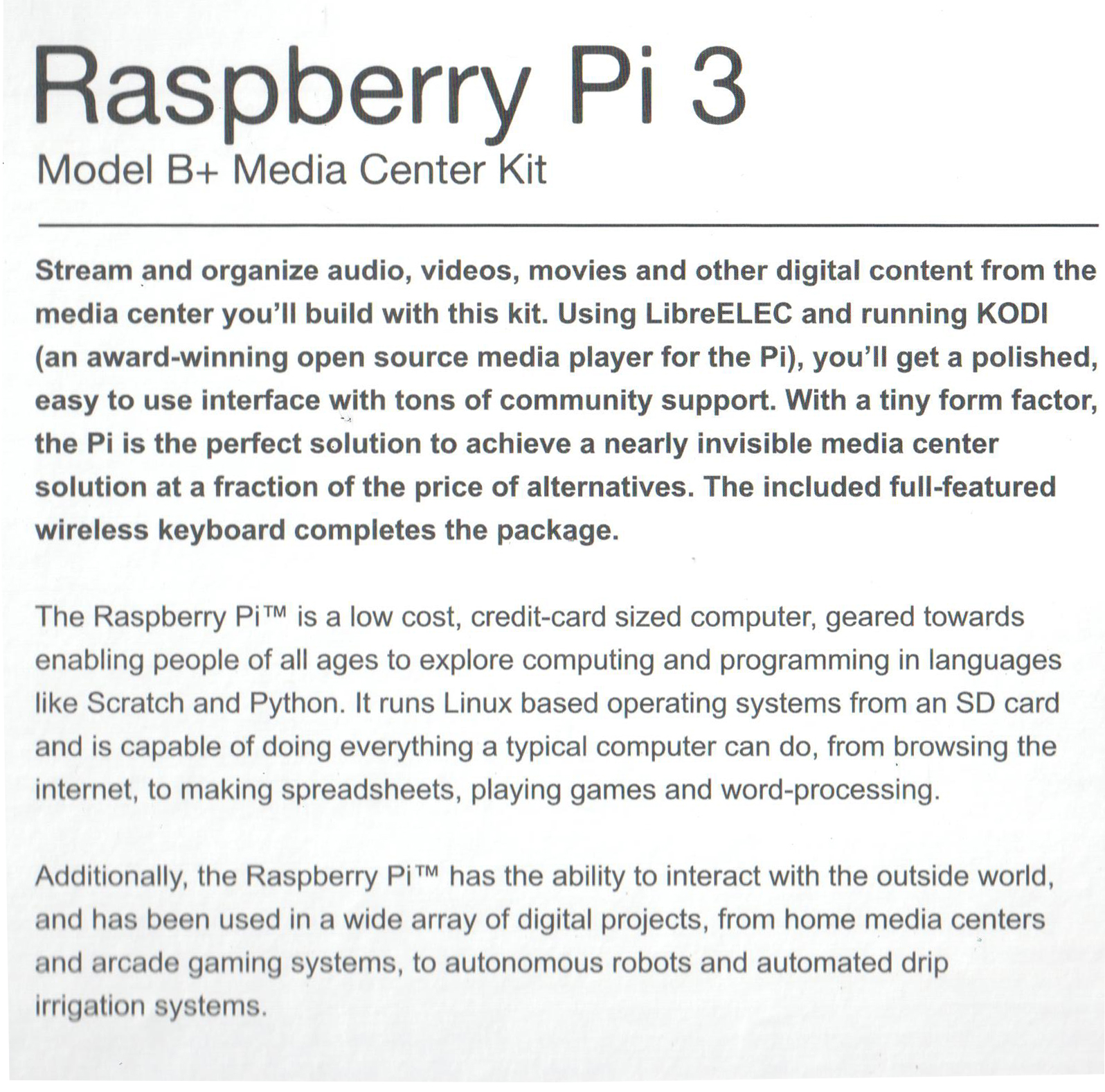 Raspberry Pi 3 B+ Kit (Model B Media Center Kit)